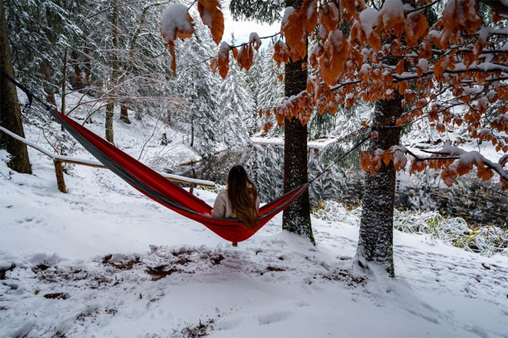 winter hammock camping cold weather